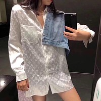 Louis Vuitton LV new shirt women trend loose all-match sunscreen shirt