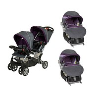 Purple Double Sit N Stand Twin Stroller Travel System with 2 Infant Car Seats, Elixer