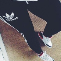 """""""Adidas"""" Trending Women Men Personality Logo Embroidery Loose Exercise Sport Pants Trousers Sweatpants I"""