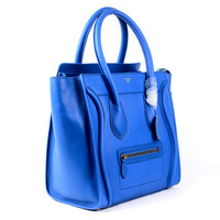 Celine Mini Luggage Tote Bag Blue Original Leather