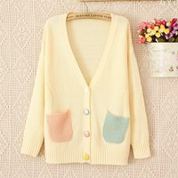 Cardigan sweaters,Candy Colored V Neck Long Sleeved Sweater