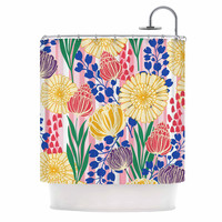"""Amy Reber """"Pretty Bouquet"""" Yellow Floral Shower Curtain"""