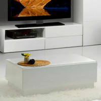 Contemporary Coffee Table With Hidden Storage Living Room Furniture White Finish