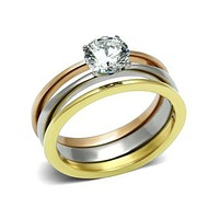 Chloe - Stainless Steel Three Toned Stackable Ring Set With Round Cut CZ Stone