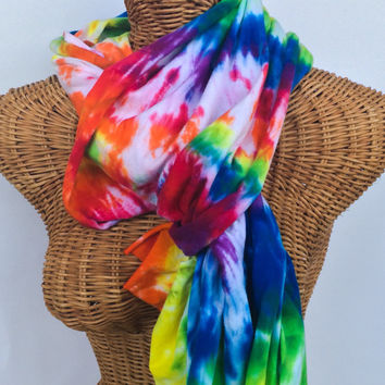 Psychedelic Rainbow Tie Dye Jersey Scarf Sash READY TO SHIP
