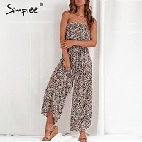 Simplee Off shoulder sexy jumpsuit women elegant Sashes jumpsuit long rompers Summer solid leopard print overalls playsuit 2019