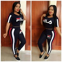 FILA Women Fashion Long Sleeve Top Pants Two-Piece L6018
