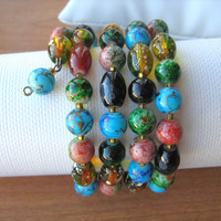 Multi Color Glass Beaded Coil Bracelet one size fits all