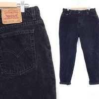 Size 18 Black Levi's 550 High Waisted Womens Jeans - Vintage 90s PLus Size Tapered Leg Black Denim Relaxed Fit USA Made Mom Jeans - 38 Waist