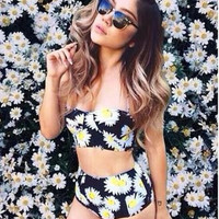 HOT DAISY FLOWER TWO PIECE BLACK BIKINIS