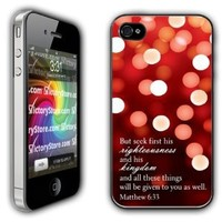 iPhone 4/4s Case - Christian Theme - Matthew 6:33 - Clear Protective Hard Case
