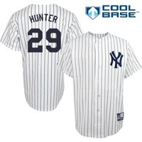 Catfish Hunter New York Yankees #29 MLB Hall of Fame Men's Cool Base Cooperstown Pinstripe Jersey (Small)