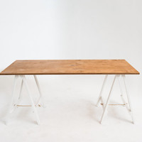 Oak Stained Large Trestle Desk / Table by Sevenhandshigh on Etsy