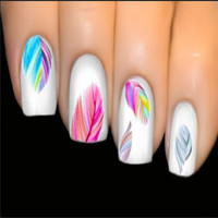 Valuable Much Lady Feature Nail Arts Water Transfer Decal Sticker Rainbow FINe