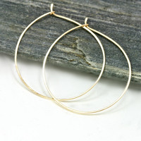 Gold Hoops - Simple 14k Gold Filled Hammered Lightweight Hoop Earrings, 1.5 in size