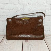 Vintage Brown Faux Alligator Purse