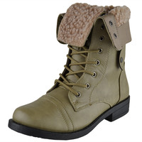 Womens Mid Calf Boots Fold Over Cuff Fur Lined Lace Up Combat Shoes Taupe