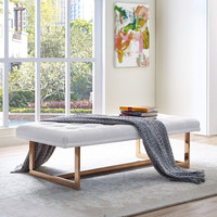 Oppland White Leather Bench