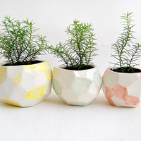 Set of Three Faceted Ceramic Planters, Ceramic Pots, Decorated in Green, Red and Yellow