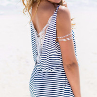 Do A Double Take Navy & White Striped Lace Back Romper