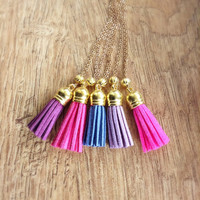 Light Purple Tassel Necklace, Long Gold Necklace, Layering Necklace, Light Purple Leather Suede Tassel, Light Purple Boho Necklace