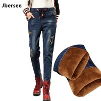 Jbersee Fashion Casual Jeans for Women Thicken Warm Winter Jeans with Embroidery Female Stretch Jeans Femme Denim Pants YZ2003