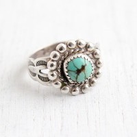 Vintage Sterling Silver Turquoise Ring - Retro Size 4 Hallmarked Bell Trading Co Southwestern Native American Style Jewelry
