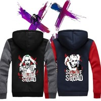 Hot New Suicide Squad Harley Quinn Joker Hoodie Logo Winter JiaRong Fleece Mens Sweatshirts Free Shipping