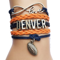 Denver Broncos Football Fan Infinity Bracelet