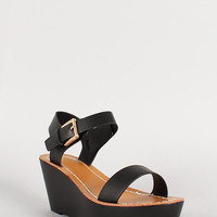 Leatherette Buckle Slingback Open Toe Platform Flat Sandal Color: Tan, Size: 8