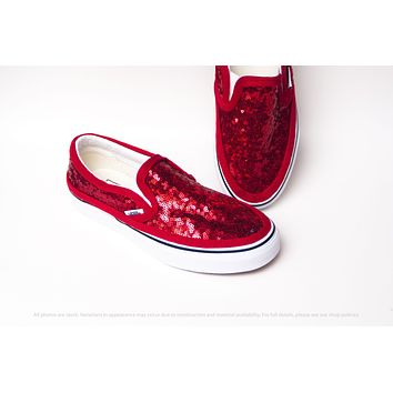 Red Starlight Sequin Slip Ons Sneakers