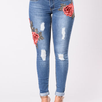Runway Bloom Jeans - Medium Stone Wash
