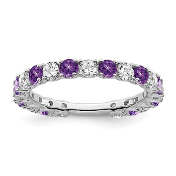 14k White Gold Amethyst and Real Diamond Band