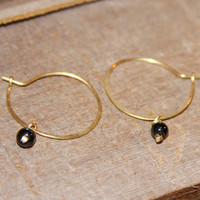 Black Onyx Gemstone Hoops. Gold Filled Hoops. Sterling Silver Hoops, Small Cartilage Hoop Earrings. Helix Hoops. Tragus Hoops