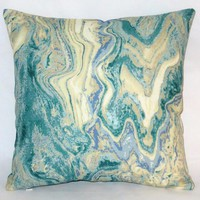 "Aqua Marble Pillow, 17"" Square Cotton Bark Cloth in Blue Green Cream Tones with Zipper Cover or Insert Included"