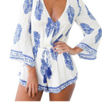 Boho Romper Playsuit, White & Blue