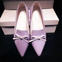Pointed Toe Leather Flat Butterfly Casual Shoes [4920468932]