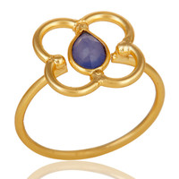Blue Chalcedony Art Deco 18K Gold Plated Sterling Silver Designer Ring
