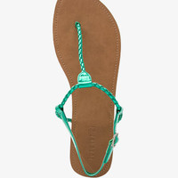Metallic Faux Leather Thong Sandals