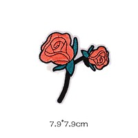Double Rose Patch with Stem-Coral & Green