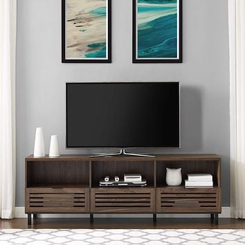 """Walker Edison Furniture Company Modern Slatted Wood 80"""" Universal TV Stand for Flat Screen Living Room Storage Cabinets and Shelves Entertainment Center, 70 Inch, Dark Walnut"""
