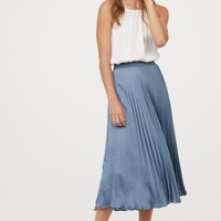 Pleated Satin Skirt - Pigeon blue - Ladies | H&M US
