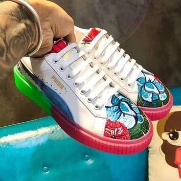 PUMA High Quality Fashion Women Casual Flower Embroidery Leather Shoes Sneakers