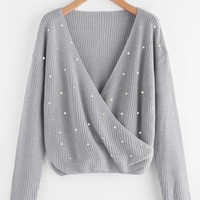 Grey Surplice Wrap Jumper With Pearl Beading
