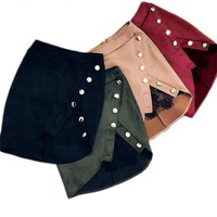 New fashion Ladies High Waist Pencil Skirts button lace patchwork sexy Bodycon Suede Leather split party casual Mini Skirt