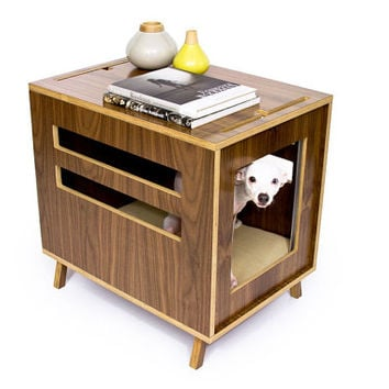 Dwell Dog Crate // Mid Century Modern Pet Furniture // Dog House // Side Table