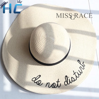 """Do not disturb"" Foldable Ladies Wide Brim Straw Beach Hat"