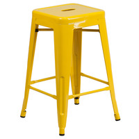 Flash Furniture 24'' High Backless Yellow Metal Indoor-Outdoor Counter Height Stool with Square Seat [CH-31320-24-YL-GG]
