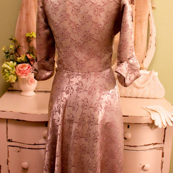 Jackie O Style Dress, Rockabilly Dresses, Retro Clothes, Mauve Brocade Dress, French Country Clothes, Cottage Chic Dress, Satin Dress, XS S