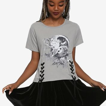 The Nightmare Before Christmas Watercolor Lace-Up Girls T-Shirt